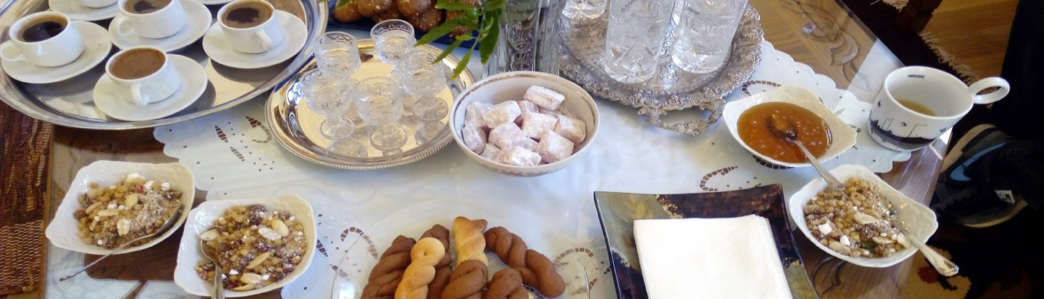 Greek cookies, desserts and coffee