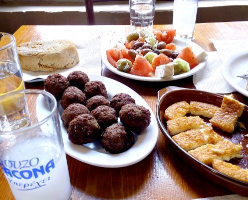 Lunch with Ouzo at a local