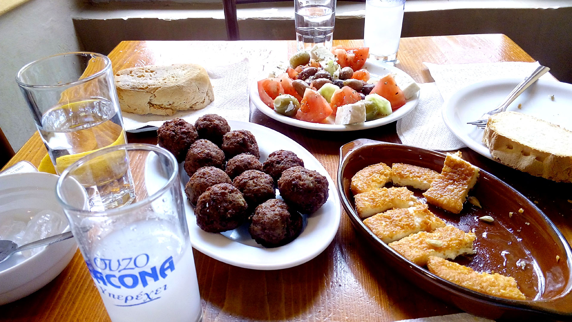 "Lunch with Ouzo at a local ""kafeneion"""