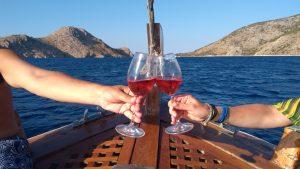 Hydra boat wine food