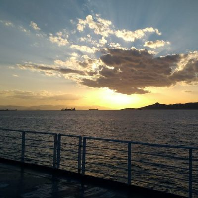 aegina island boat sunset